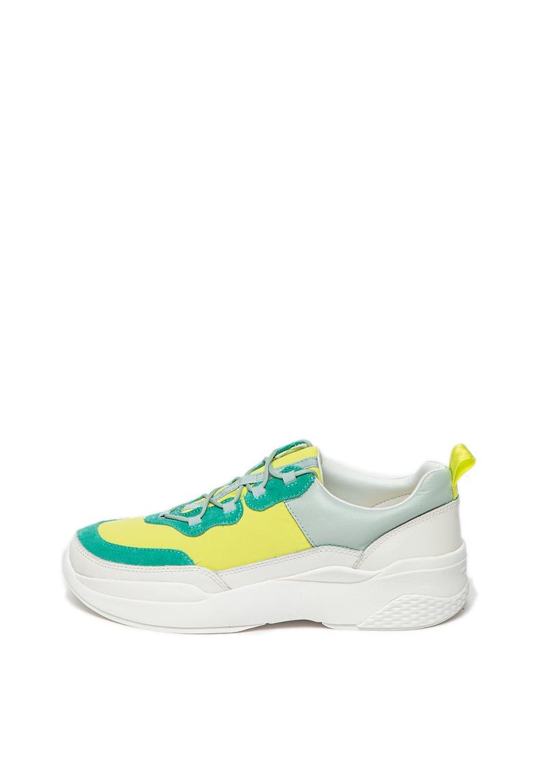 Pantofi sport din piele si piele intoarsa - cu insertii din plasa Lexy