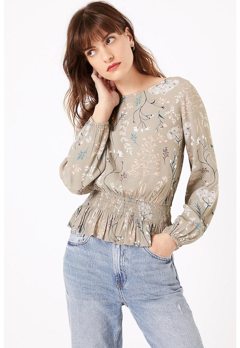 Bluza cu imprimeu floral si volan peplum