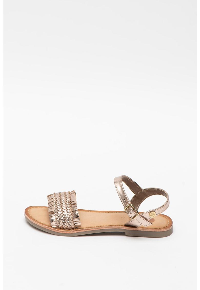 Sandale de piele cu aspect metalizat Siracusa