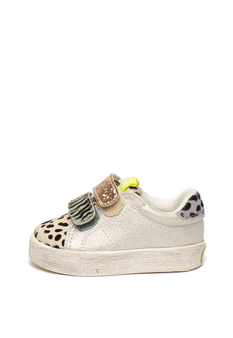 Pantofi sport cu velcro si insertii de piele cu par scurt Akola