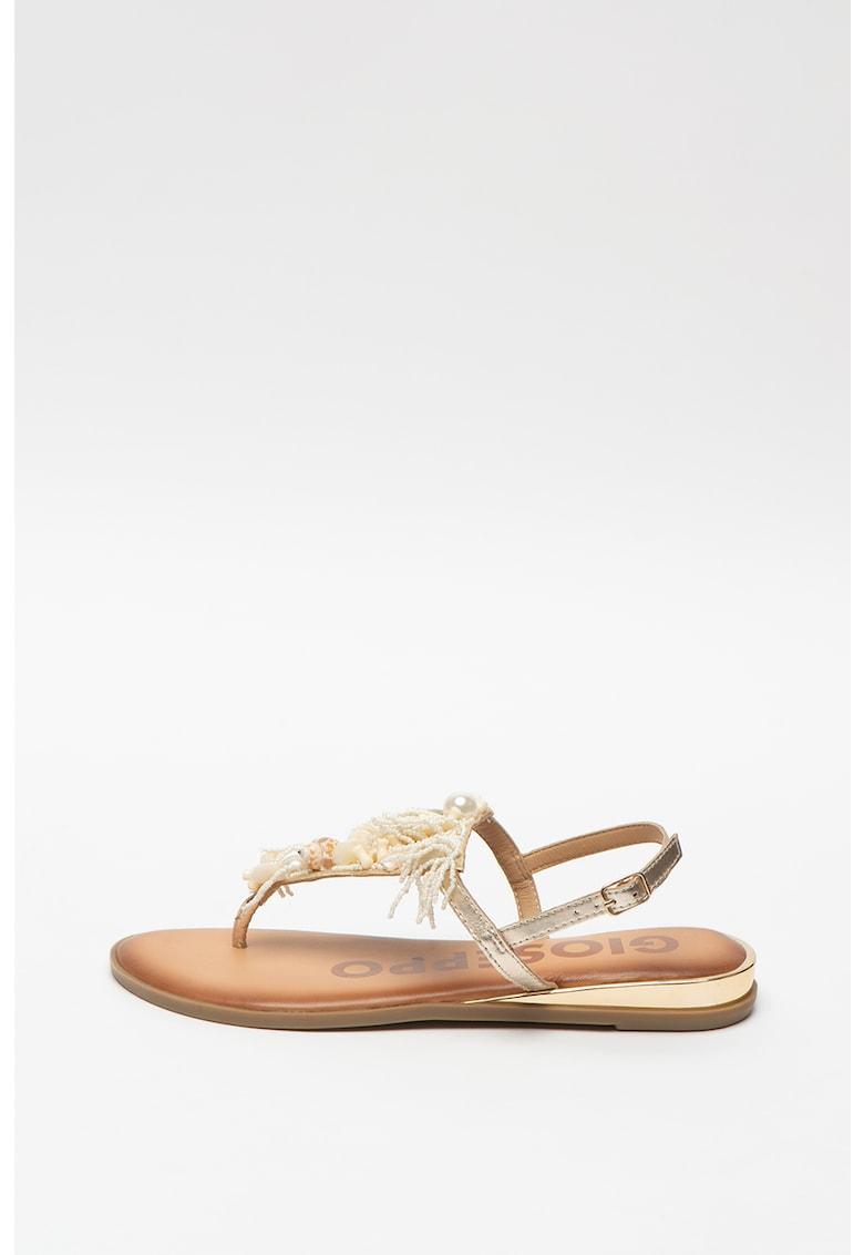 Sandale de piele cu bareta separatoare si aplicatii de scoici Mayodan