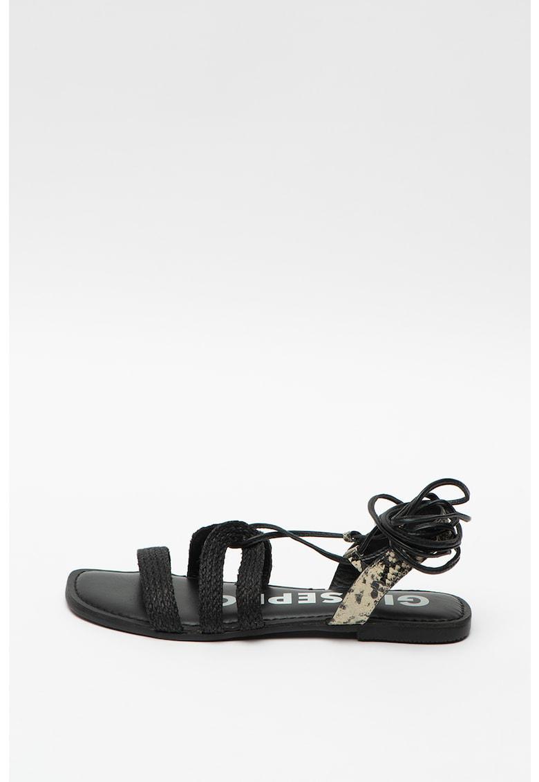 Sandale de piele si piele ecologica - cu bareta infasurabila Manlius