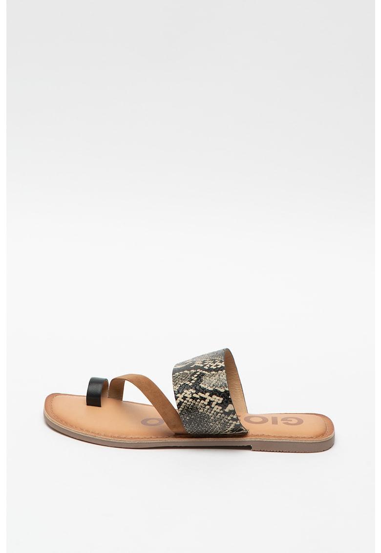 Papuci din piele si piele intoarsa - cu detalii cu aspect piele de sarpe Lucama