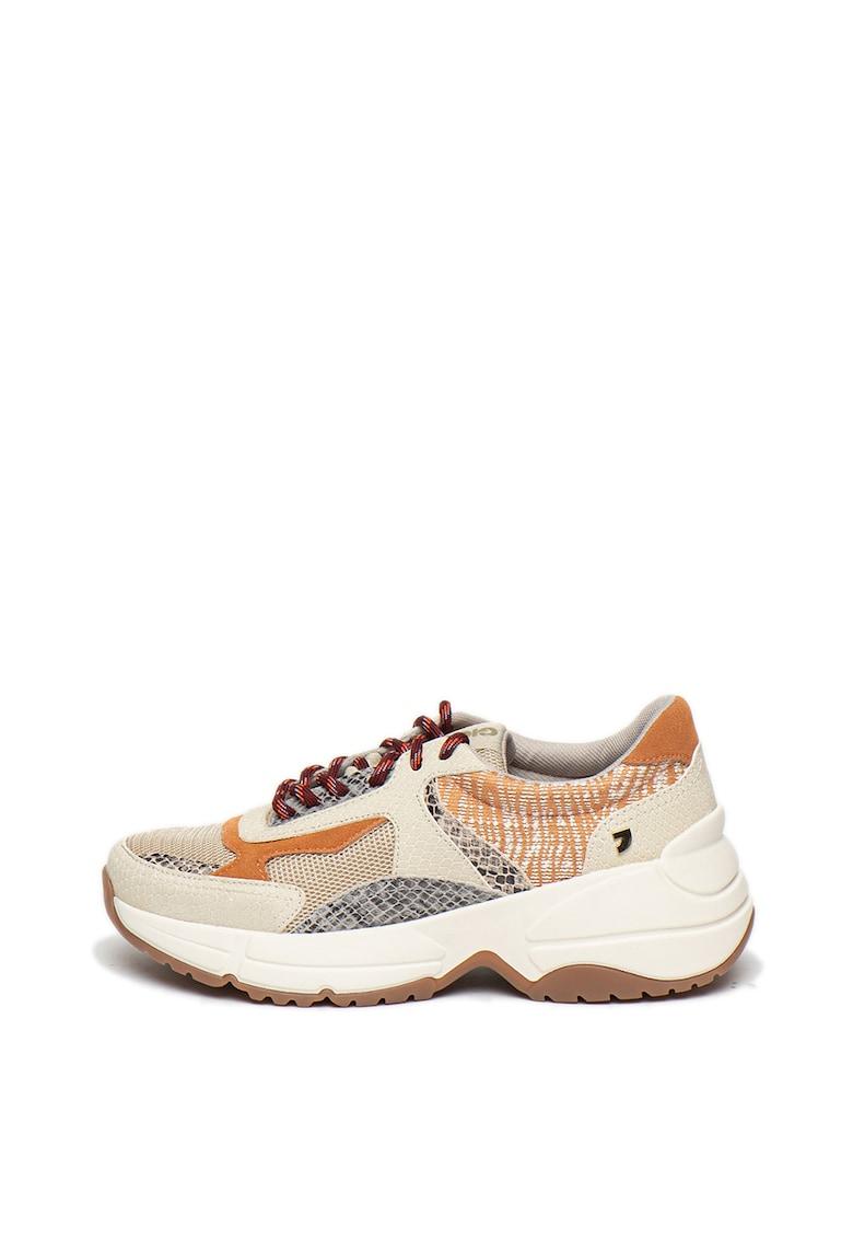 Pantofi sport cu talpa masiva si insertii de piele intoarsa Valderice