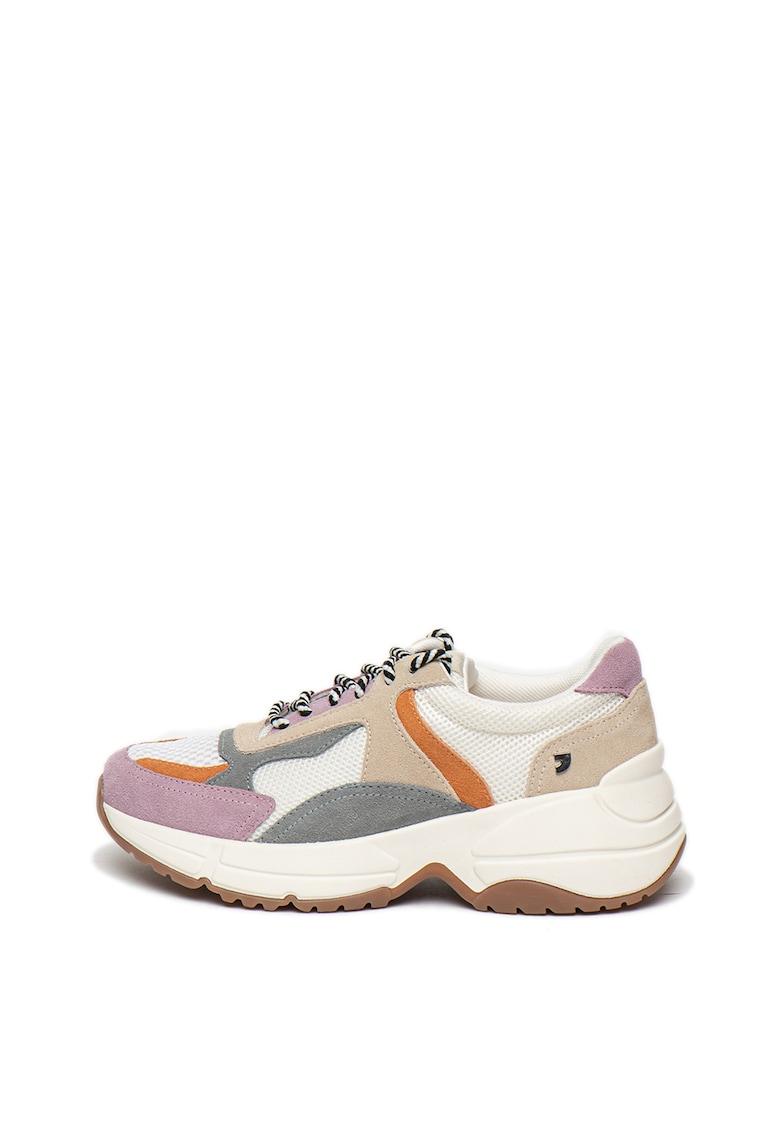 Pantofi sport cu talpa wedge si insertii de piele intoarsa Niel