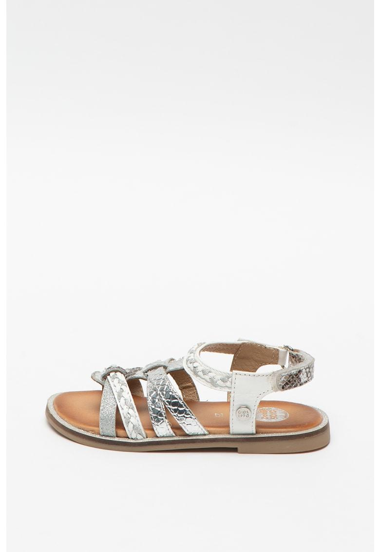Sandale de piele cu aspect metalizat Pignola