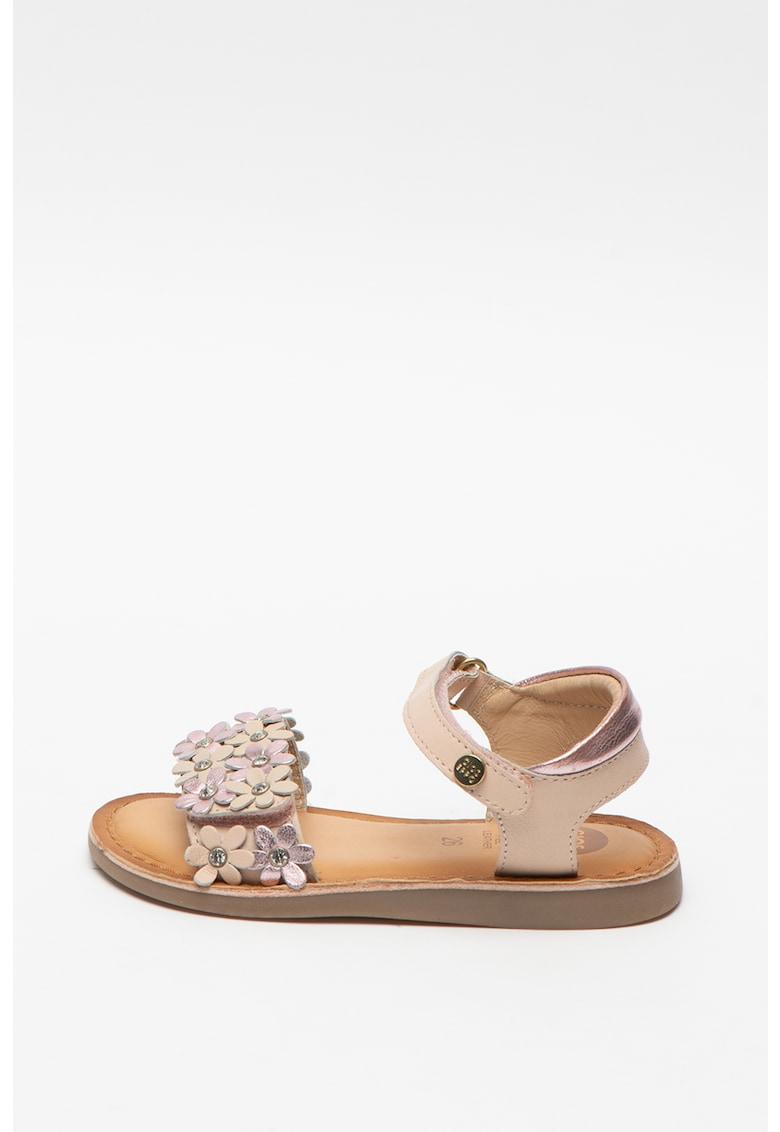 Sandale de piele cu aplicatii florale Mazara