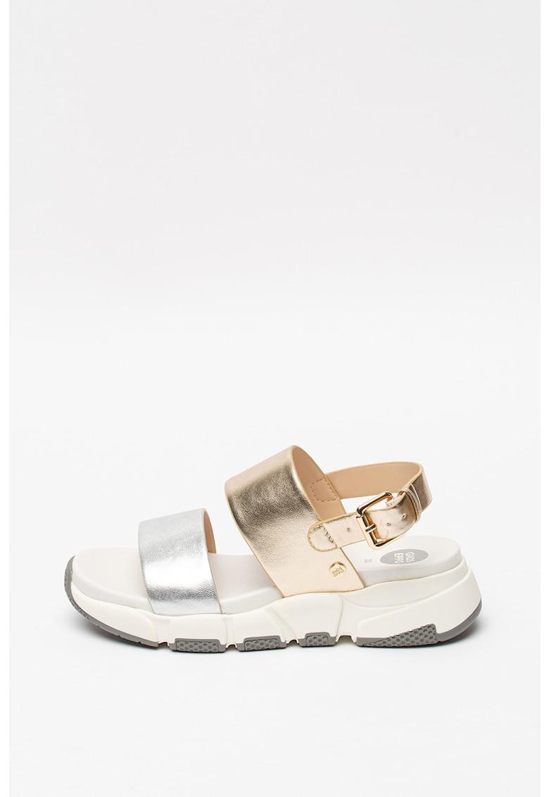 Sandale din piele ecologica cu aspect metalizat Lennik imagine fashiondays.ro