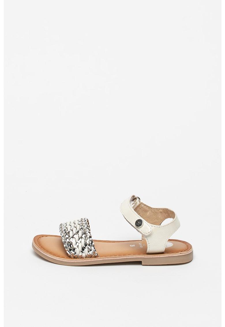 Sandale de piele si piele ecologica - cu aspect tesut Vietri