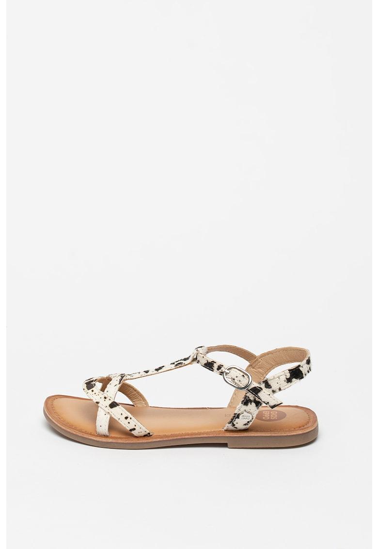 Sandale de piele cu par scurt cu animal print Caguas imagine fashiondays.ro