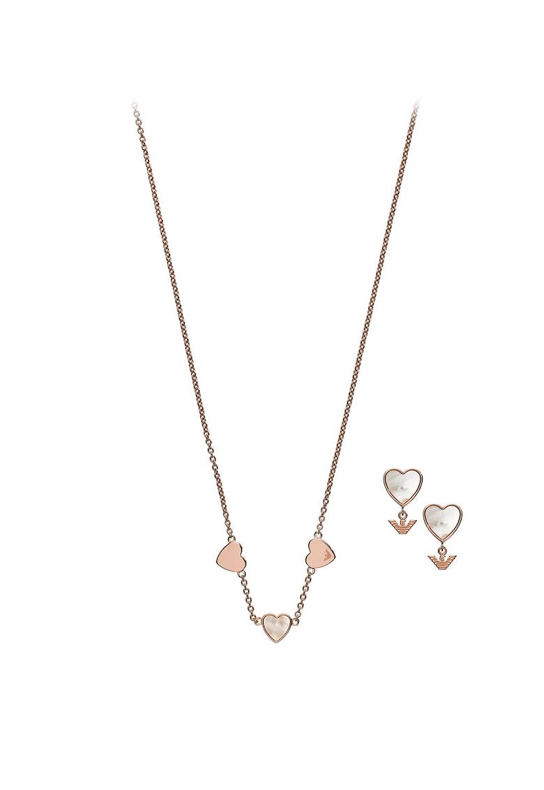 Set de colier si cercei cu tija - cu detalii Mother of Pearl Emporio Armani fashiondays.ro