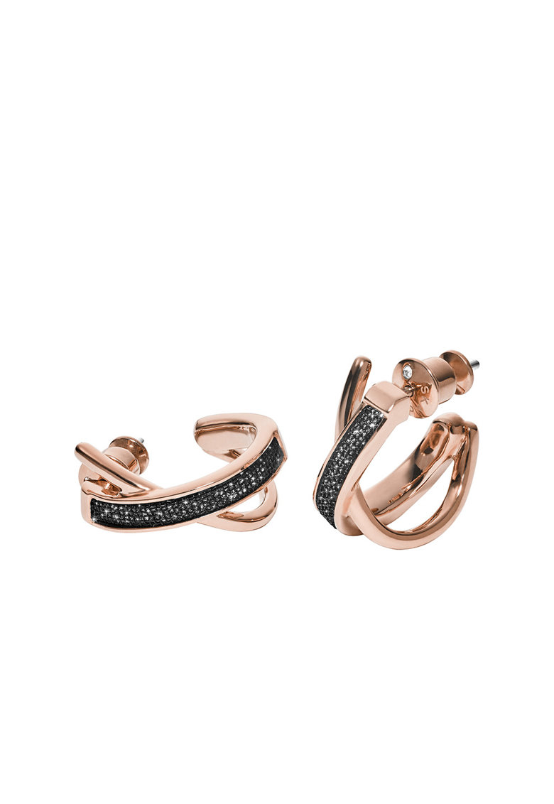 Cercei rotunzi placati cu aur roz si decorati cu cristale poza fashiondays
