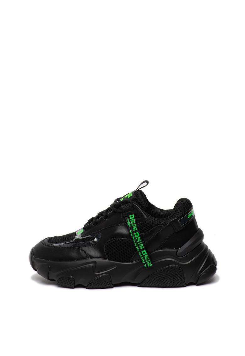 Pantofi sport de piele si plasa - cu talpa masiva