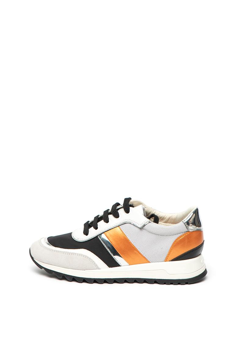 Pantofi sport din piele si piele intoarsa cu insertii din material textil Tabelya