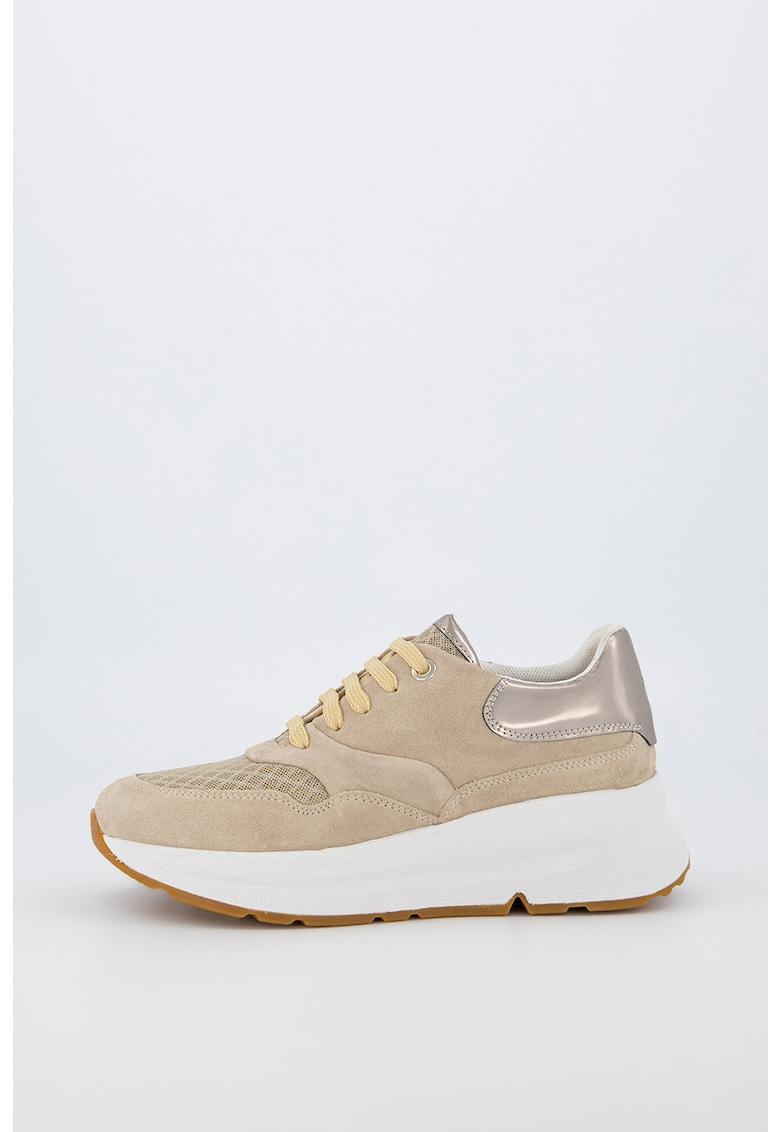 Pantofi sport de piele intoarsa cu insertie lacuita imagine