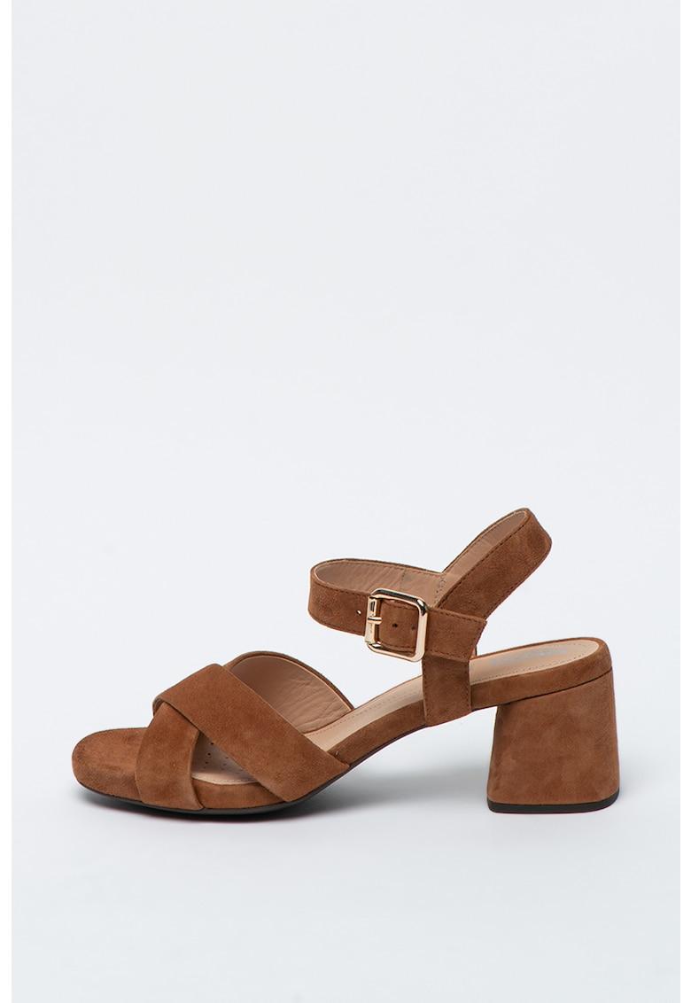 Sandale din piele cu toc masiv Genziana