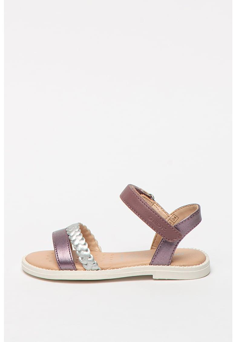 Sandale din piele ecologica cu bareta impletita Karly imagine fashiondays.ro