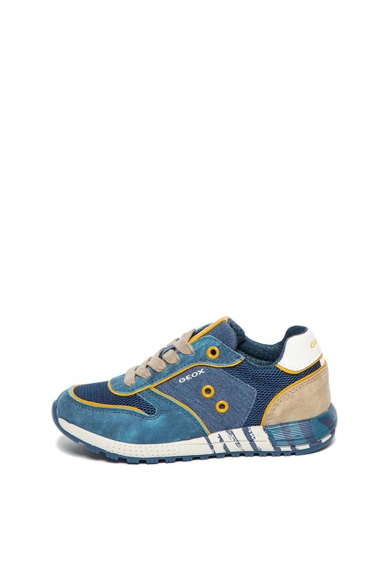 Pantofi sport cu insertii de piele intoarsa Alben de la Geox