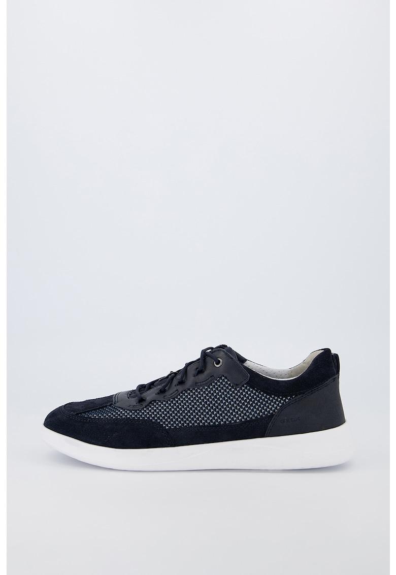 Pantofi sport din piele intoarsa cu insertii din plasa imagine