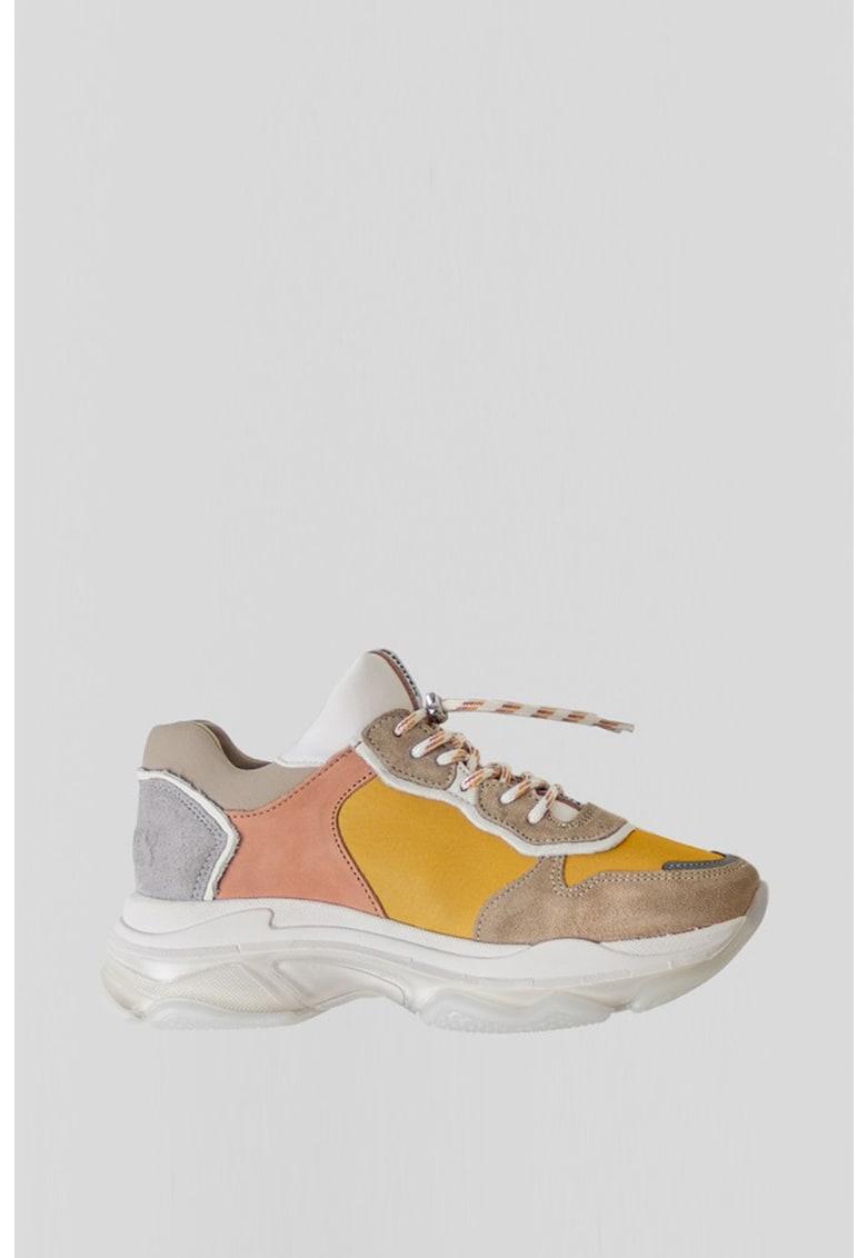 Pantofi sport de piele si piele intoarsa -cu model colorblock Baisley
