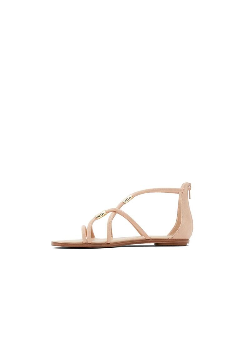 Sandale din piele ecologica cu talpa plata Pozoa