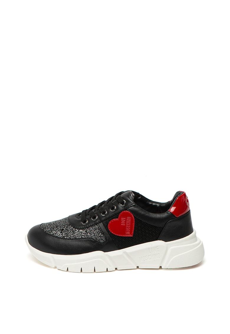 Pantofi sport wedge cu insertii de piele si stralucitoare Love Moschino fashiondays.ro
