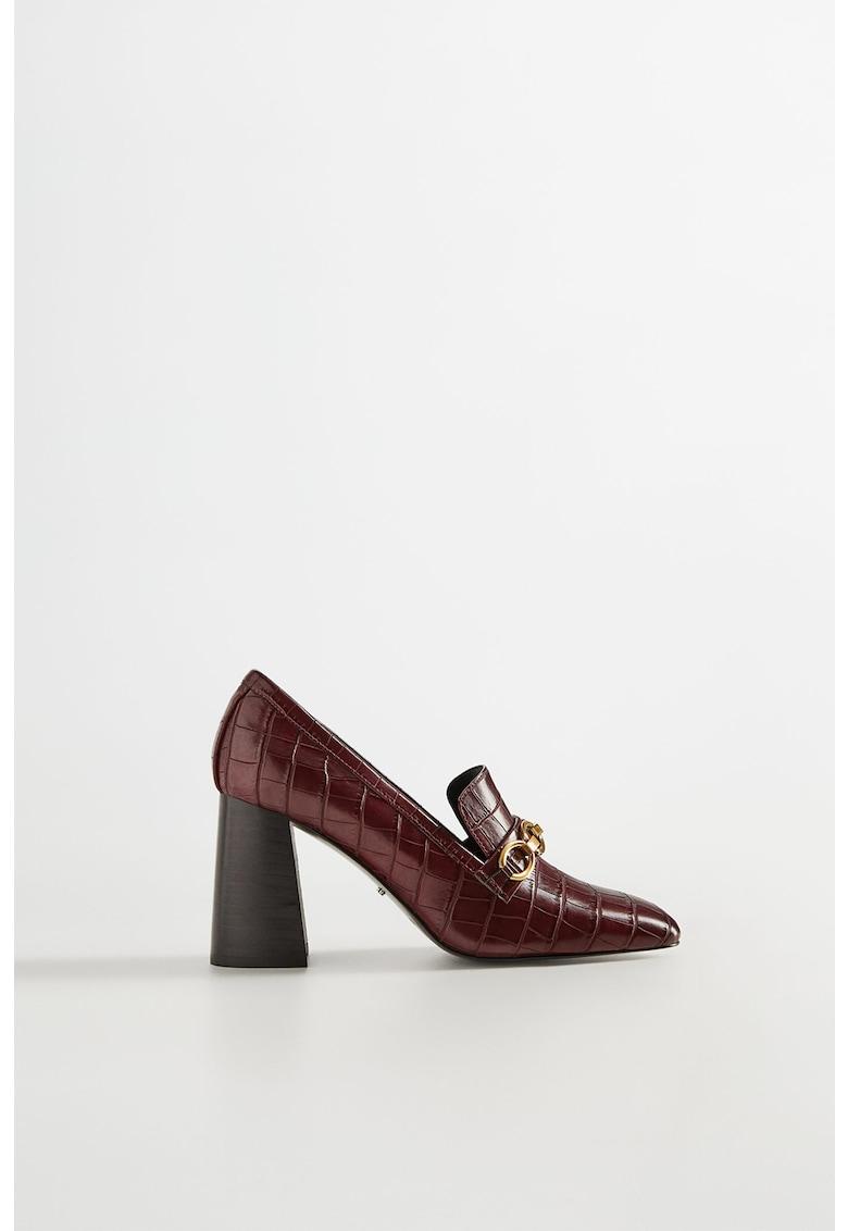Pantofi de piele ecologica - cu toc masiv