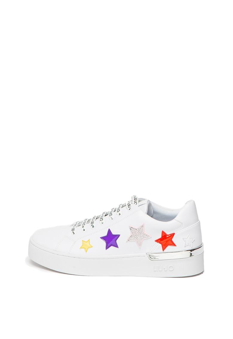 Pantofi sport din piele ecologica cu aplicatii cu stele Silvia