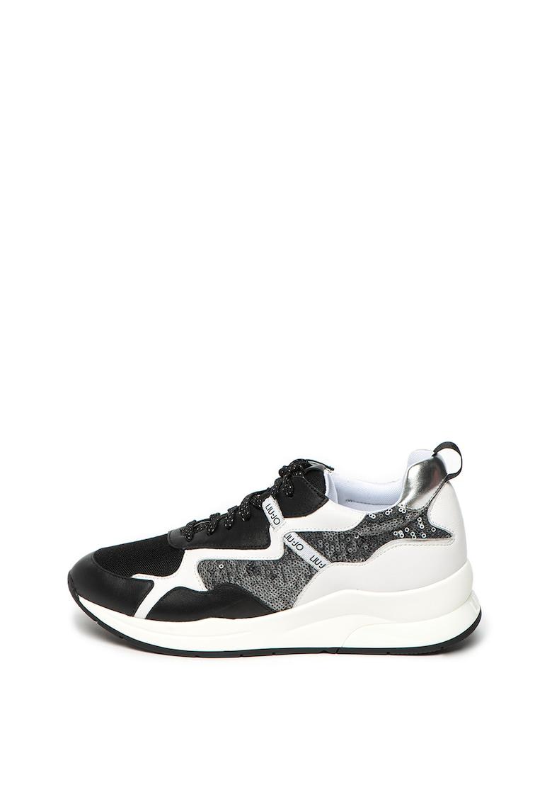 Pantofi sport cu garnituri din piele si aplicatii din paiete Karlie 35