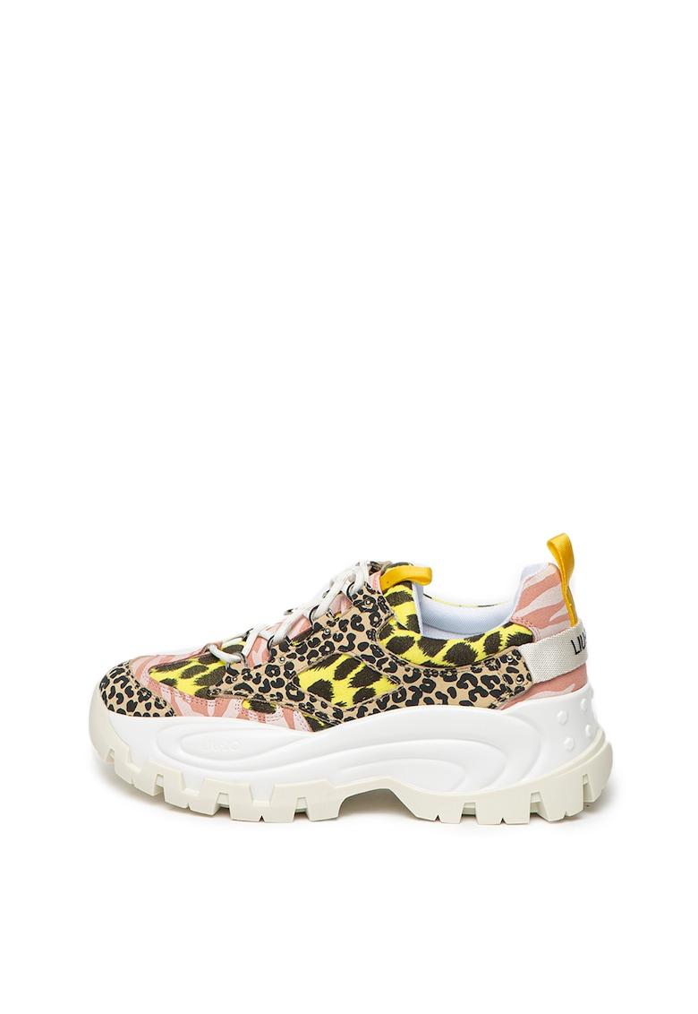 Pantofi sport cu aspect masiv si animal print Wave