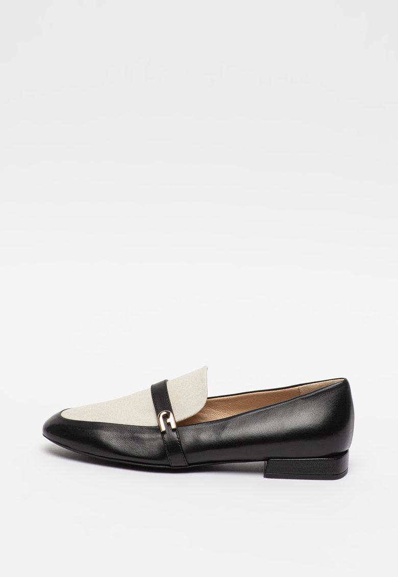 Pantofi loafer de piele cu segment din material textil