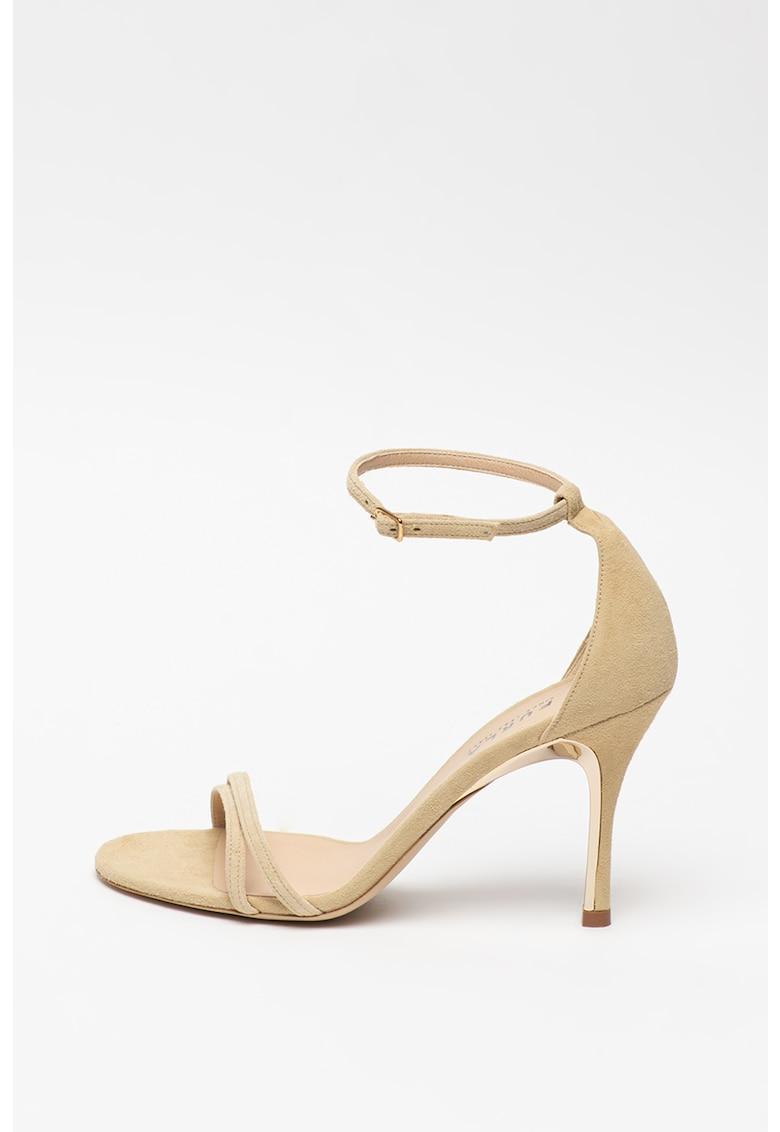 Sandale de piele nabuc cu toc inalt