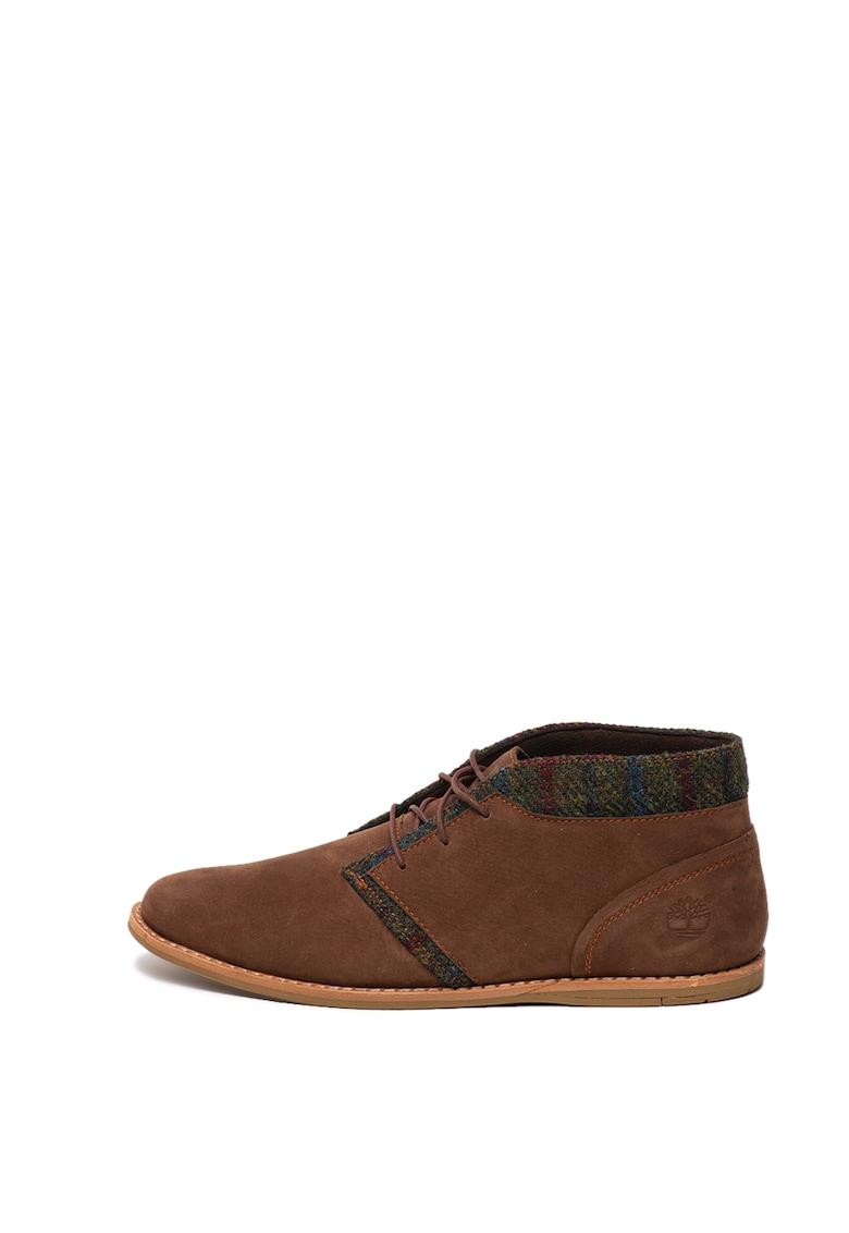 Pantofi casual din piele nabuc si material textil Ekrevenia