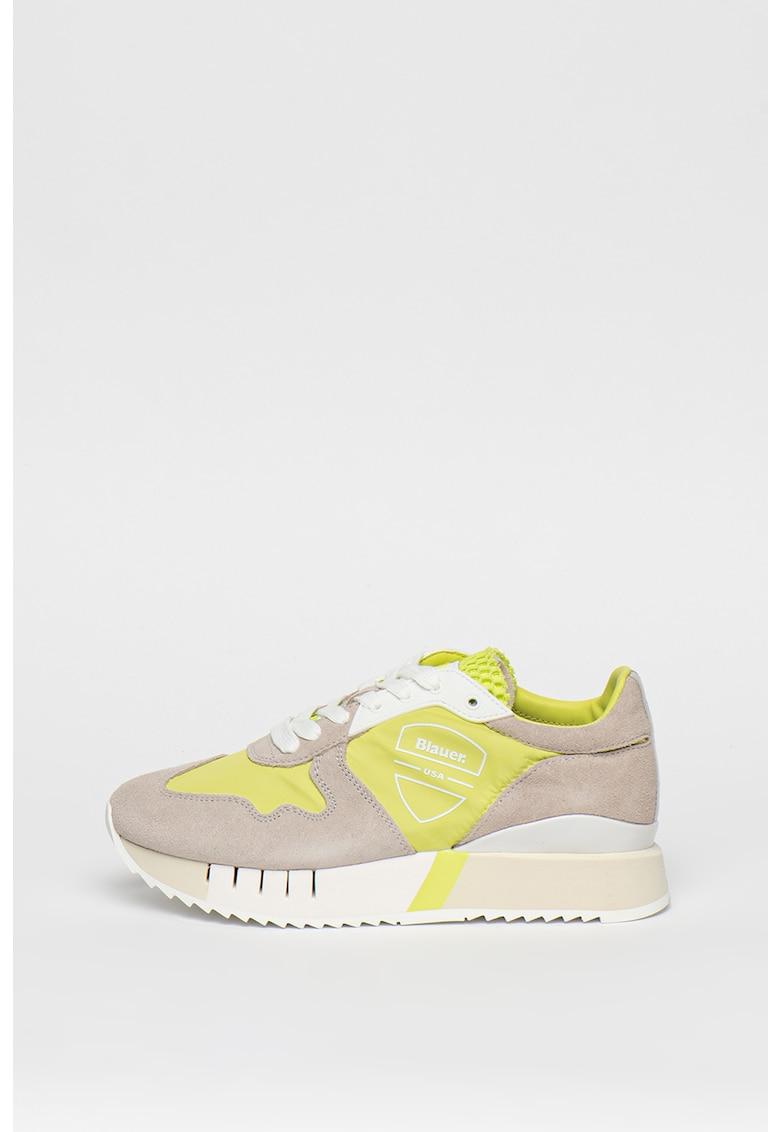Pantofi sport de piele intoarsa - cu platforma si insertii de plasa Myrtle