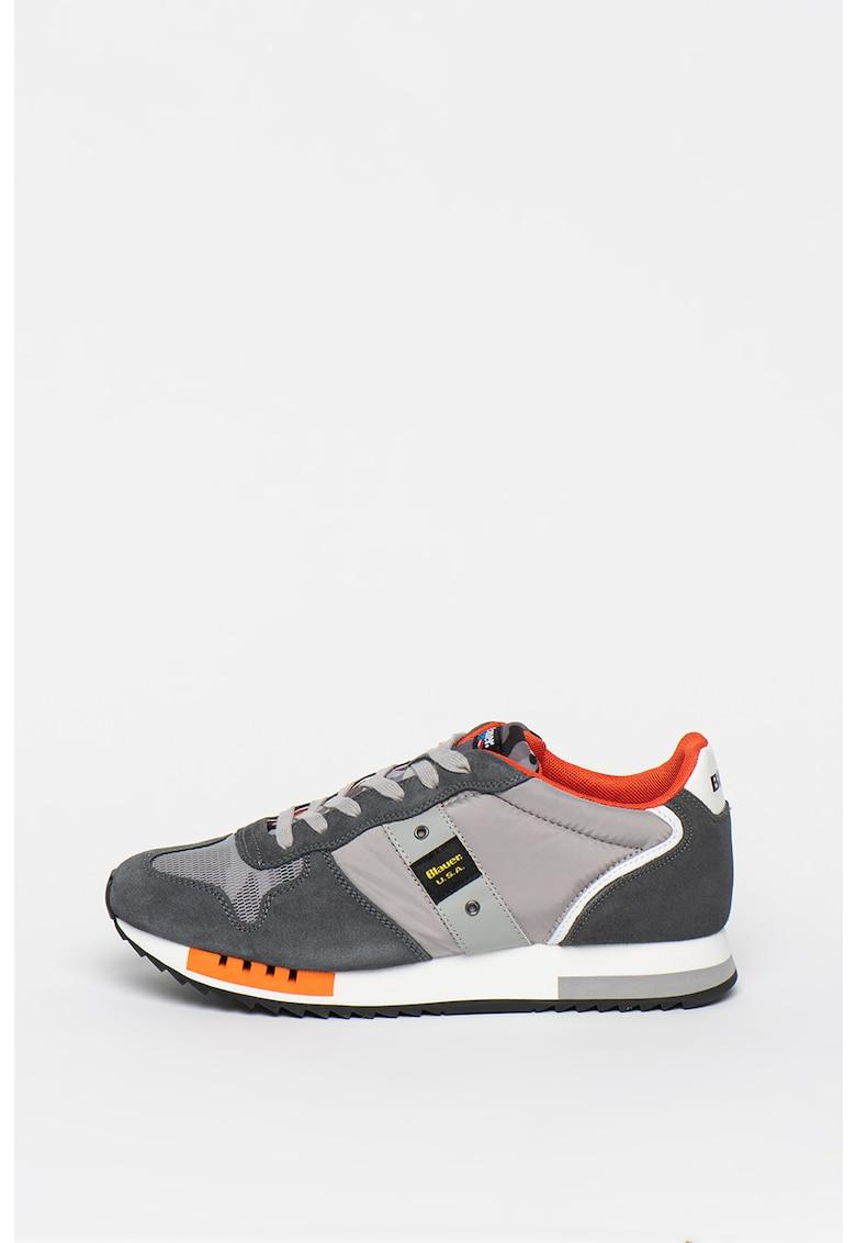 Pantofi sport cu insertii de plasa si piele intoarsa Queens imagine