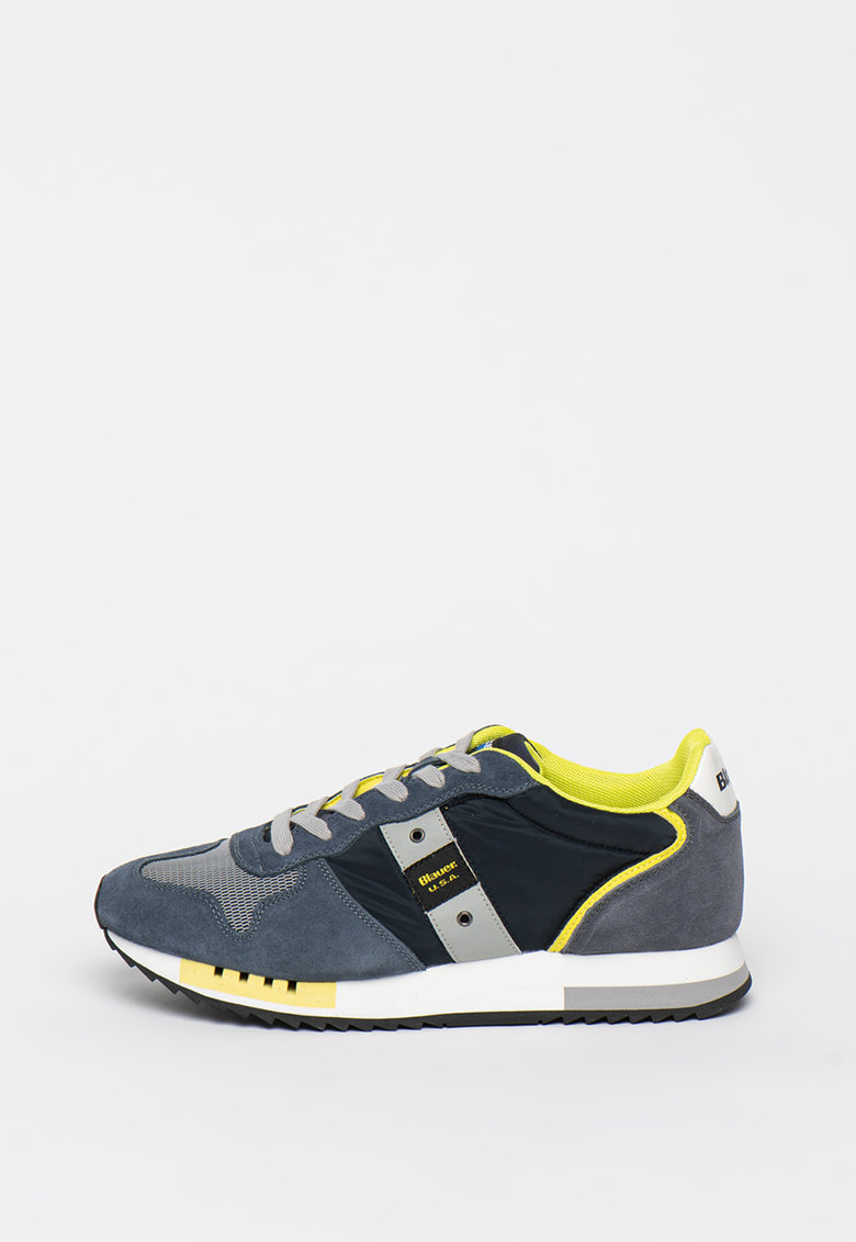 Pantofi sport de piele intoarsa cu insertii de plasa Queens