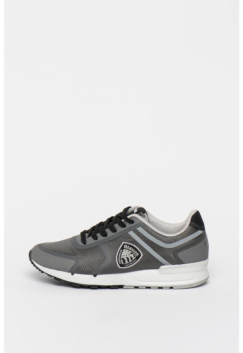 Pantofi sport de piele intoarsa ecologica cu insertii de plasa