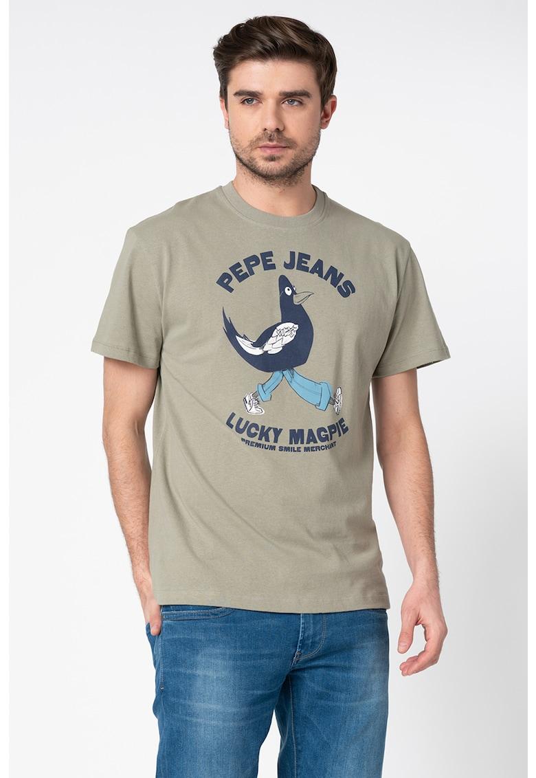 Pepe Jeans London Tricou lejer cu decolteu la baza gatului - cu imprimeu grafic si logo