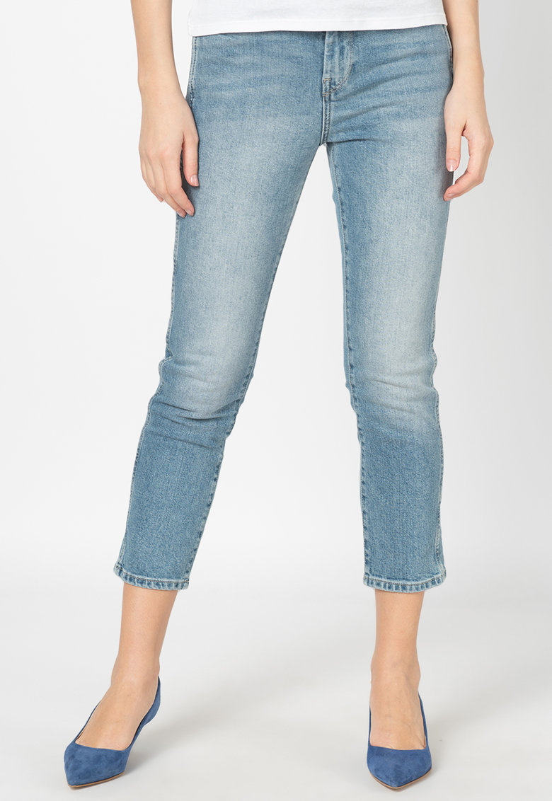 Pepe Jeans London Blugi crop slim-fit cu talie inalta Dion