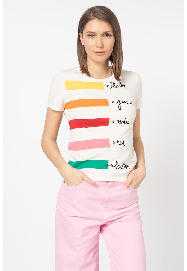 United Colors of Benetton Tricou tricotat fin - cu imprimeu text
