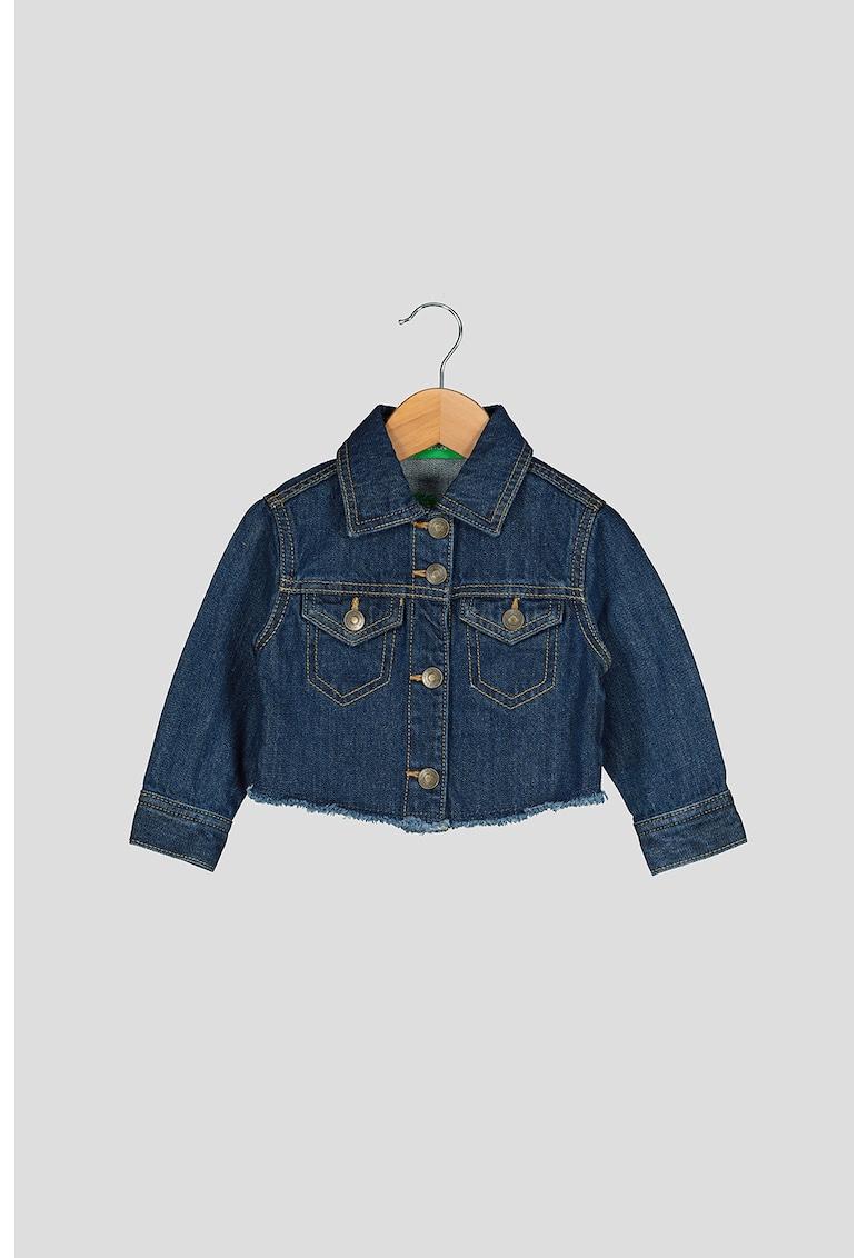 Jacheta din denim cu logo pe partea din spate de la United Colors of Benetton