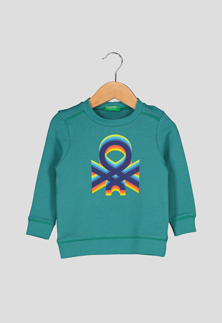 United Colors of Benetton Bluza sport din bumbac organic - cu imprimeu logo