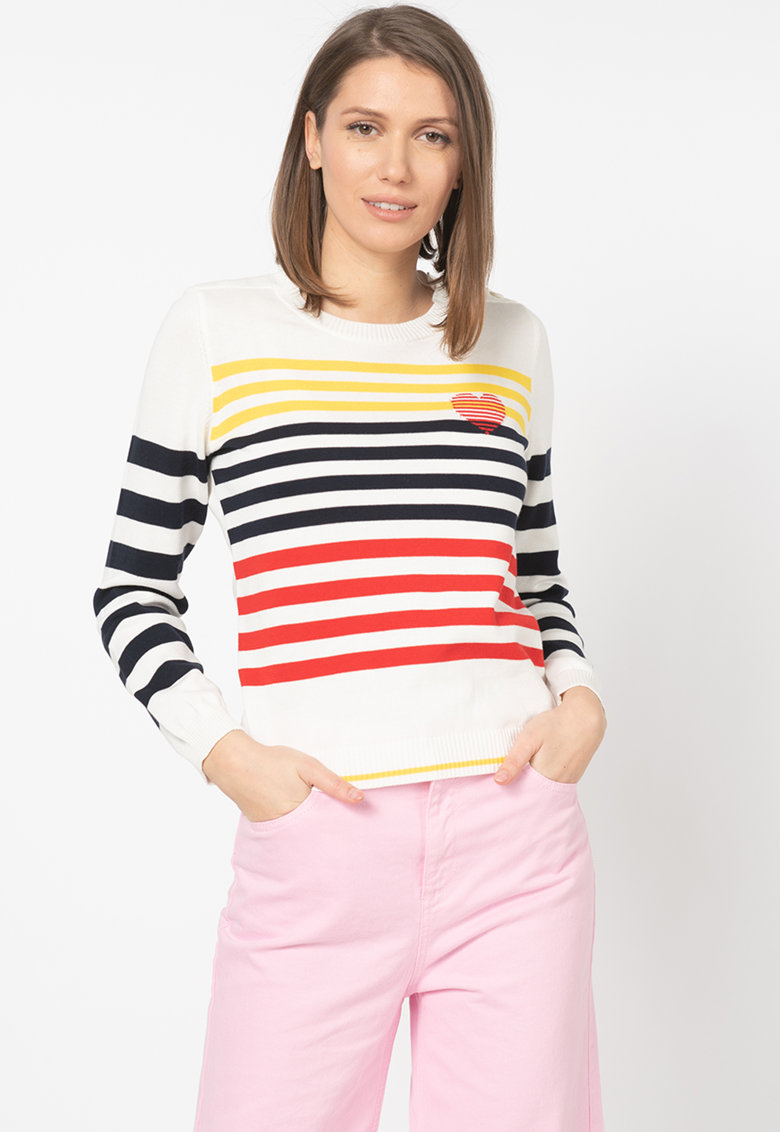 United Colors of Benetton Pulover din tricot fin cu model in dungi