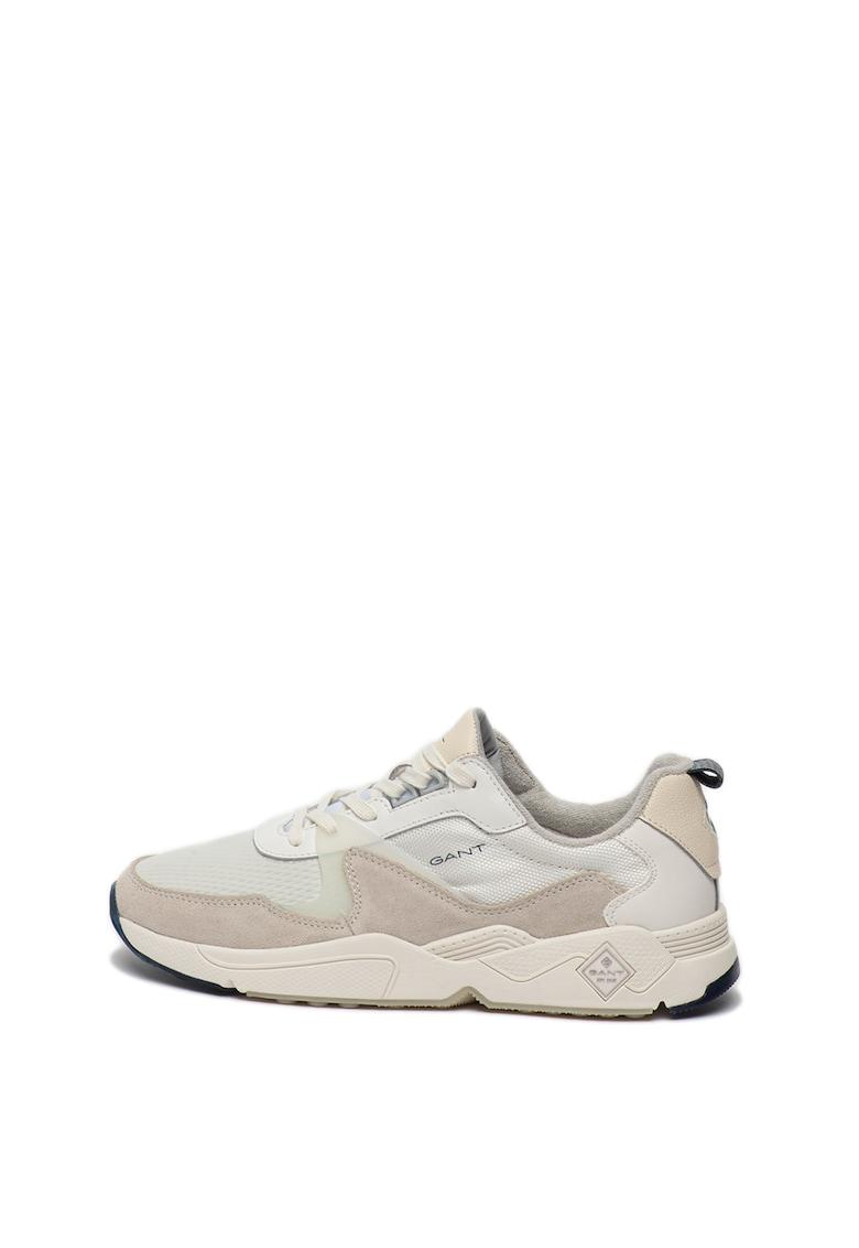 Pantofi sport de piele intoarsa si piele - cu insertii de plasa Nicewill imagine