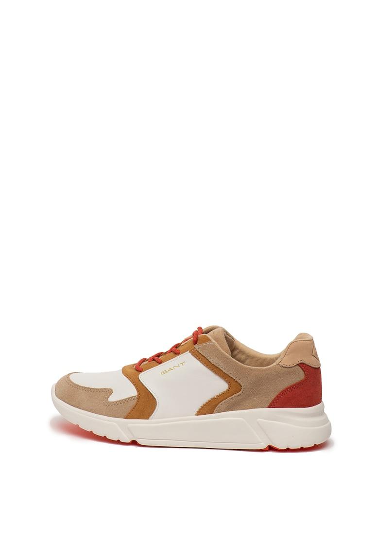 Pantofi sport de piele si piele intoarsa - cu model colorblock Cocoville imagine