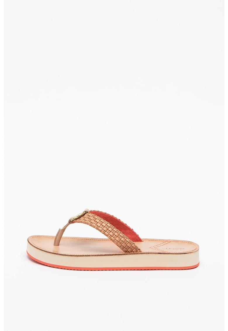 Papuci de piele ecologica - cu bareta separatoare Flatville