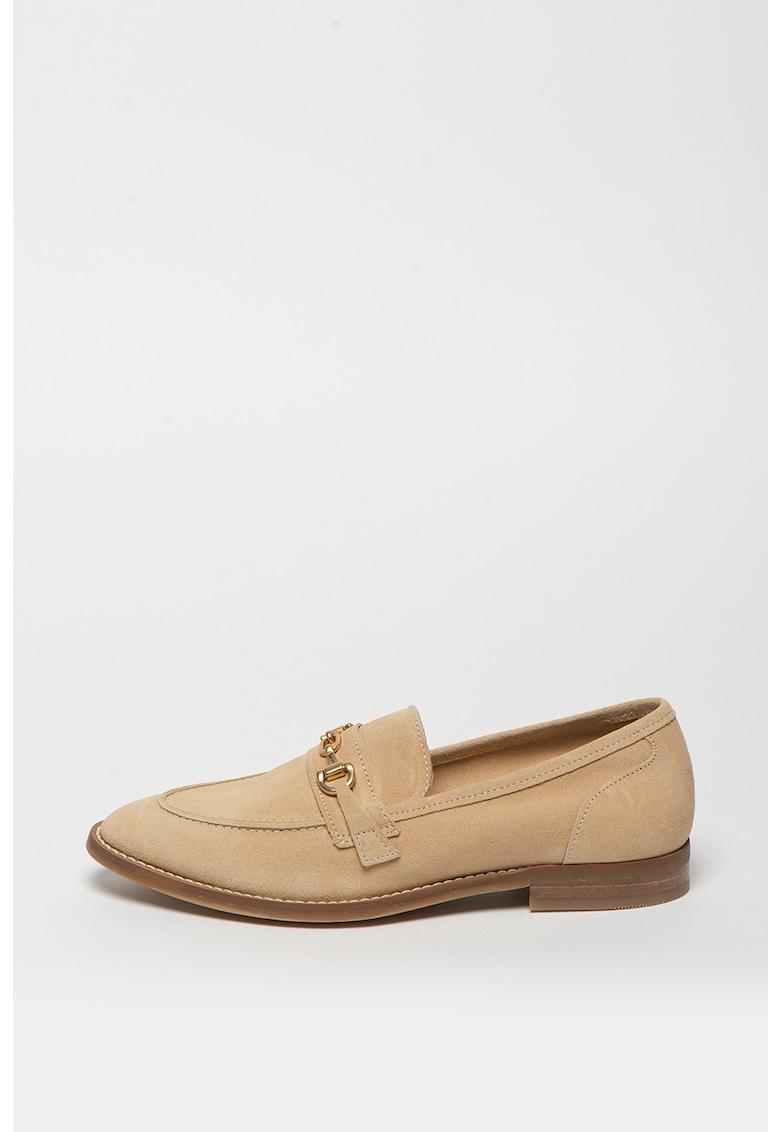 Pantofi loafer de piele intoarsa cu detaliu metalic St Beeton