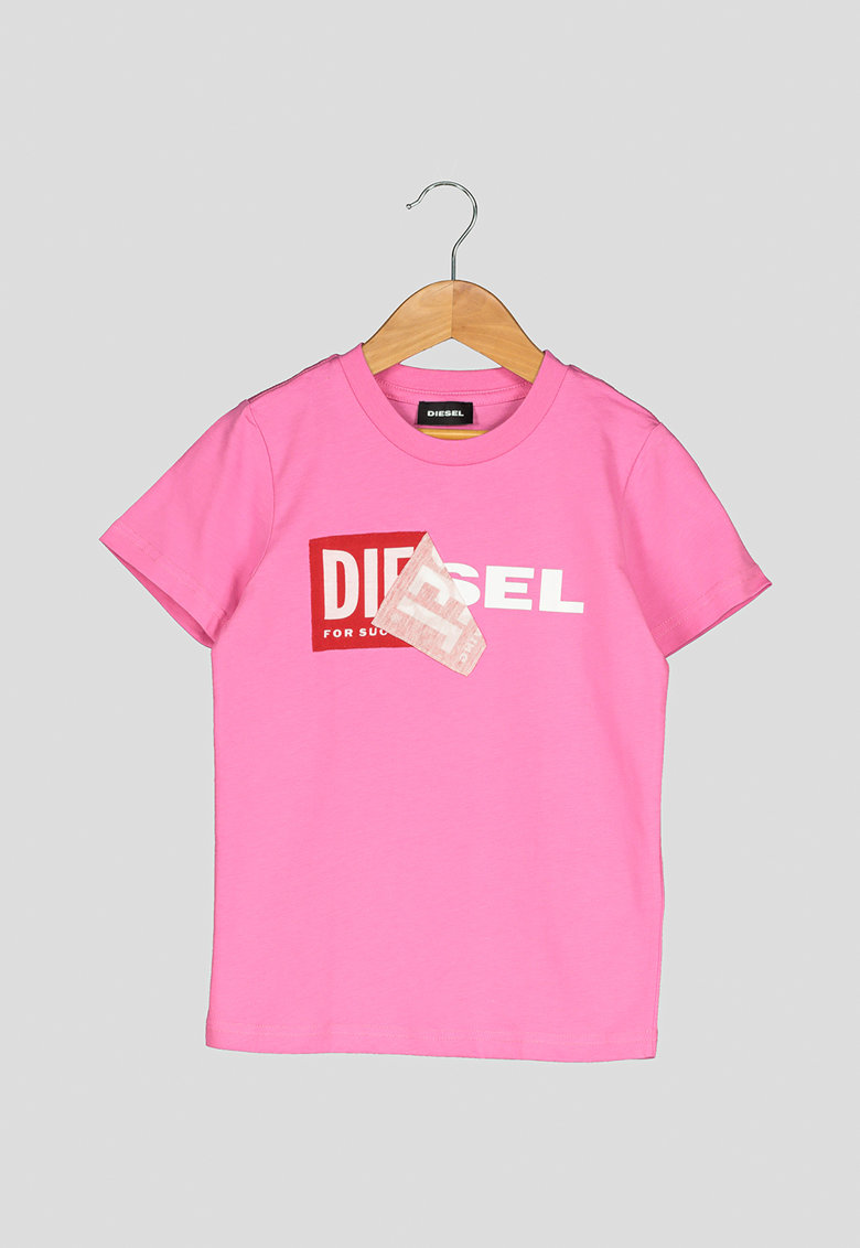 Diesel Tricou cu decolteu la baza gatului si imprimeu logo Diego