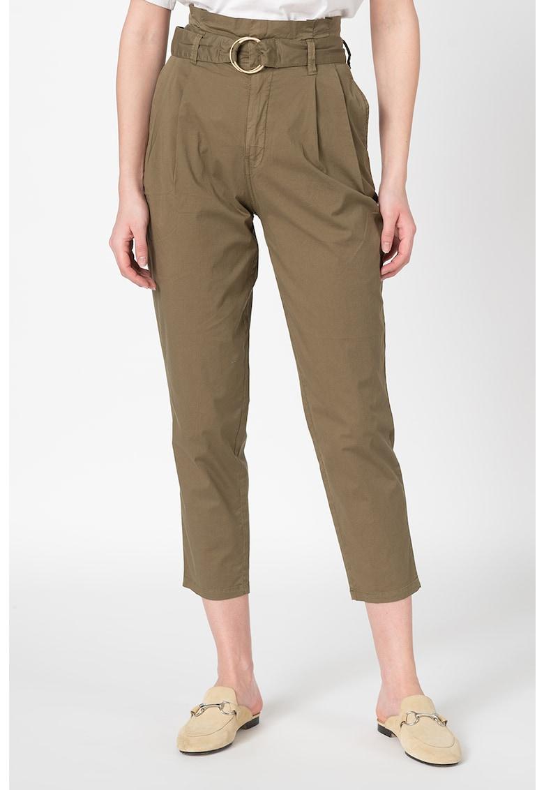 Pantaloni crop cu talie inalta si curea imagine