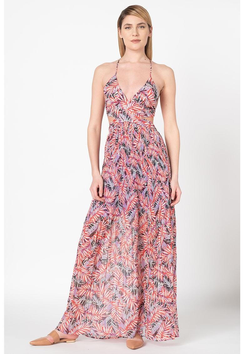 Rochie lunga cu imprimeu tropical
